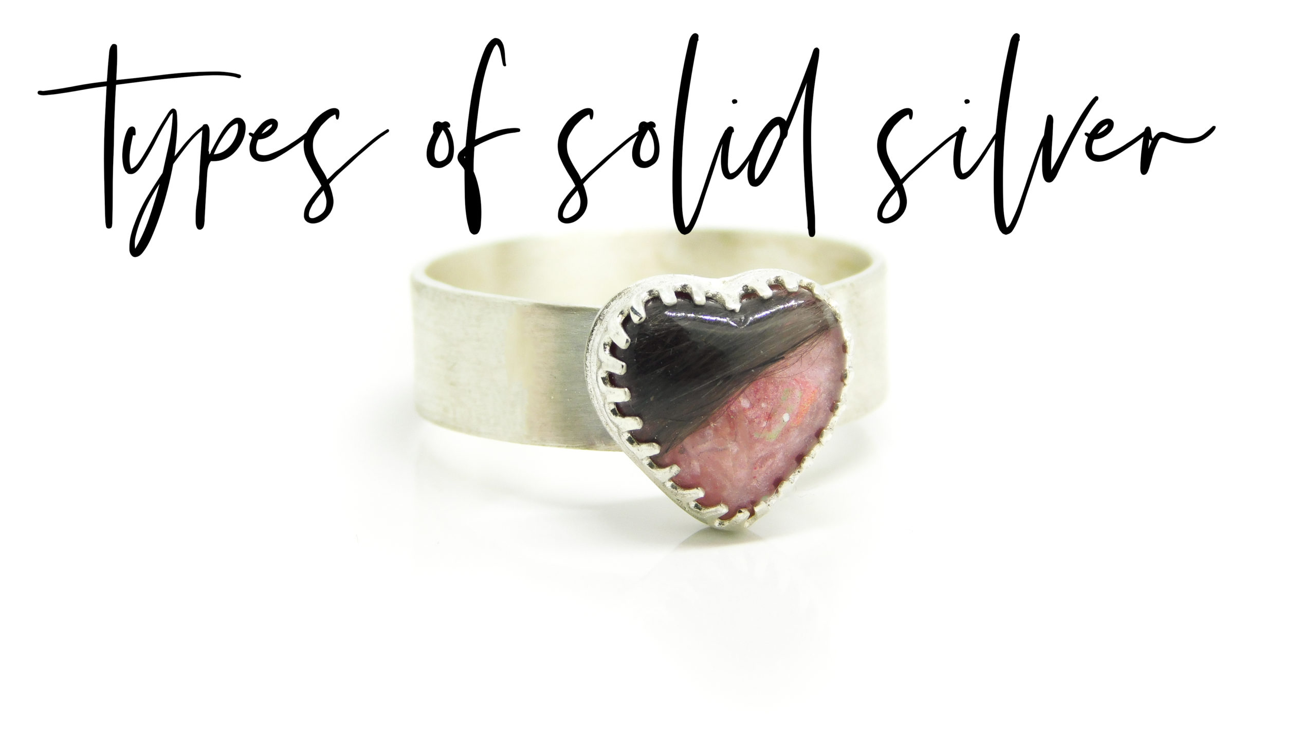 types of solid silver. Heart hair ring pink, fairy pink resin sparkle mix, brushed band heart ring setting