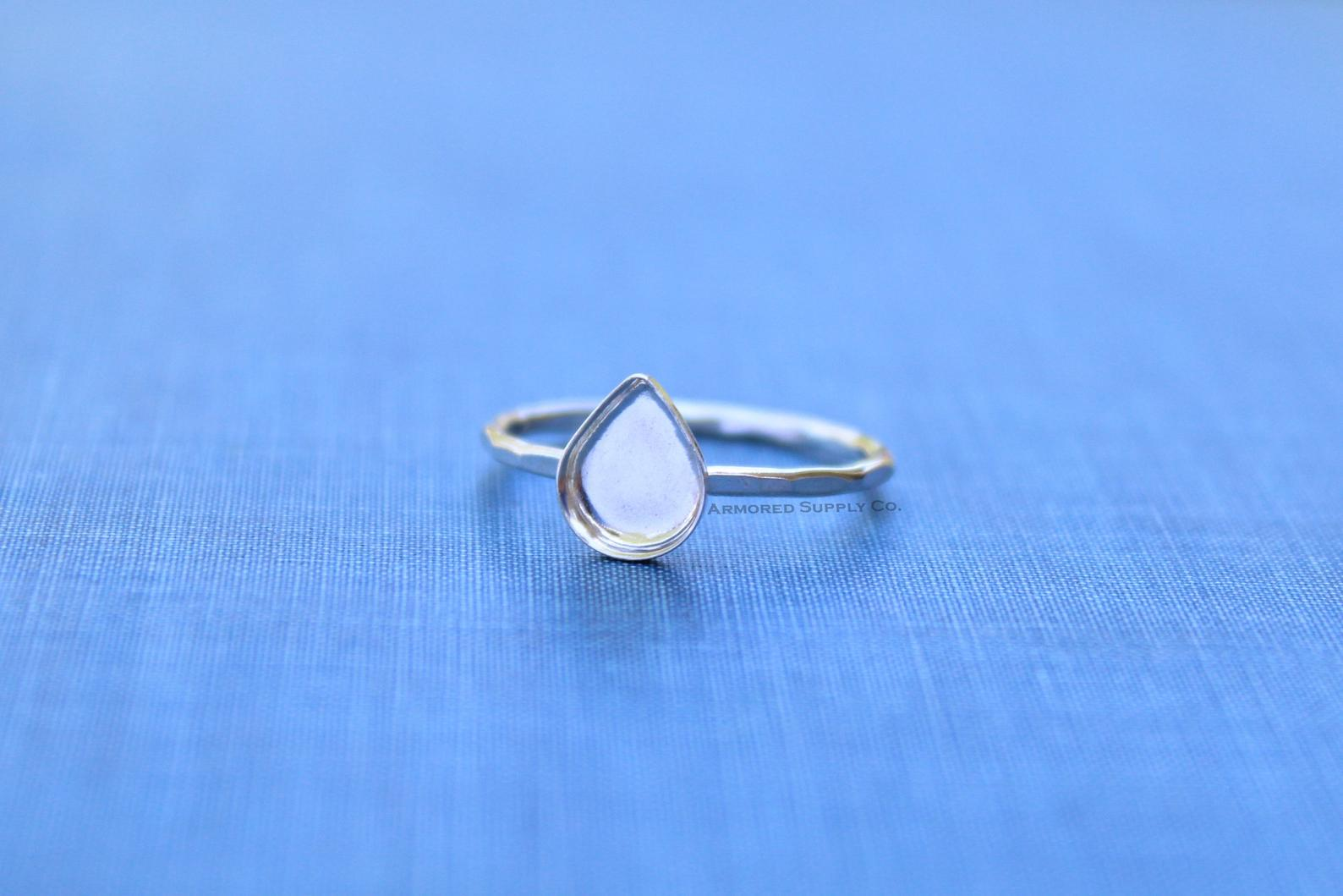 Nikki's Personal Etsy Favourites 13x18mm Silver Pear Tear Drop Bezel Cup Ring blank from ArmoredSupplyCo